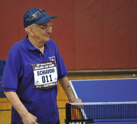 """Carmen Schiavoni, 92, ready to take on any of the """"kids"""" at the game"""